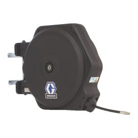 """Graco LD Series, Oil, 13mm (1/2"""") Inlet, 13mm X 11m (1/2"""" X 35') Hose, BSPP, Swivel Wall Mount, With Inlet Kit, Black - 24J265"""